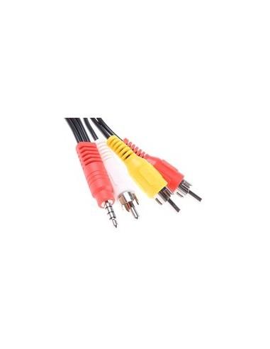 Cable A/V mini Jack 4 polos a 3 RCA 1,80m